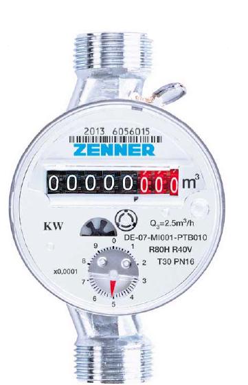Contor apa rece tip ZENNER ETK-D DN 15, Q3=2,5mc/h, MID R80 (Clasa B)